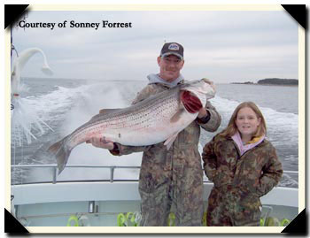 Kelly Manning and her striped bass
